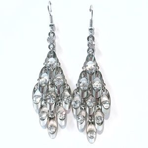 Jewelry - Silver Rhinestone Drop Chandelier Earrings